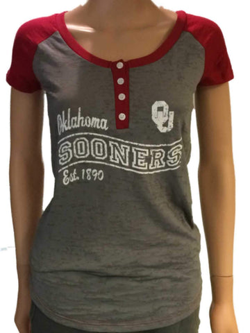 Shop Oklahoma Sooners Blue 84 Women Gray Red-Shoulder Buttoned Short Sleeve T-Shirt