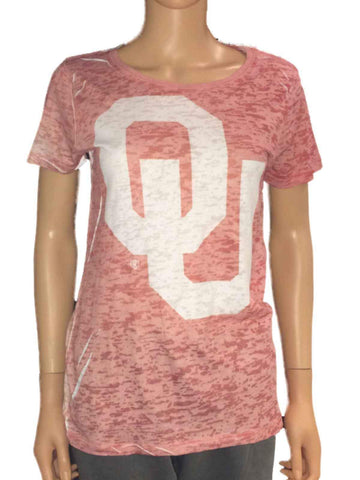 Oklahoma Sooners Blue 84 Women Light Red Washout Short Sleeve T-Shirt