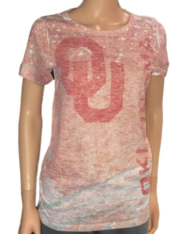 Shop Oklahoma Sooners Blue 84 Women Pink Washout Crew Neck Short Sleeve T-Shirt - Sporting Up