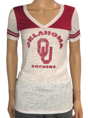 Shop Oklahoma Sooners Blue 84 Women White Red-Shoulder Burn Out V-Neck T-Shirt