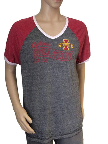 Shop Iowa State Cyclones Blue 84 Mens V-neck Burnout Dark Gray Lightweight T-Shirt - Sporting Up
