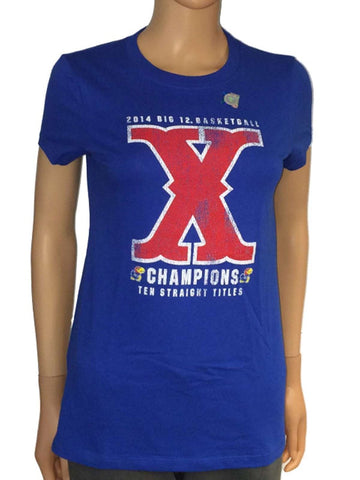 Shop Kansas Jayhawks The Victory Womens Blue 2014 Big 12 Champs X Ten Titles T-Shirt