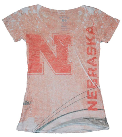 Shop Nebraska Cornhuskers Blue 84 Juniors Light Red Splatter Style V-Neck T-Shirt - Sporting Up