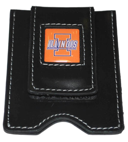 Shop Illinois Fighting Illini Concord Industries Black Leather Card Money Clip Wallet