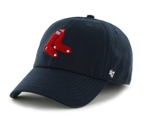 15bc0051261c11 Shop Boston Red Sox 47 Brand Navy Socks Logo The Franchise Fitted Hat Cap