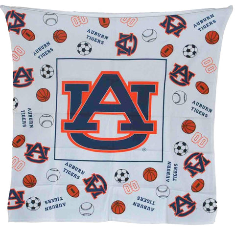 "Shop Auburn Tigers Decorative Fabrics & Linens Youth White Throw Blanket 45""x 45"" - Sporting Up"