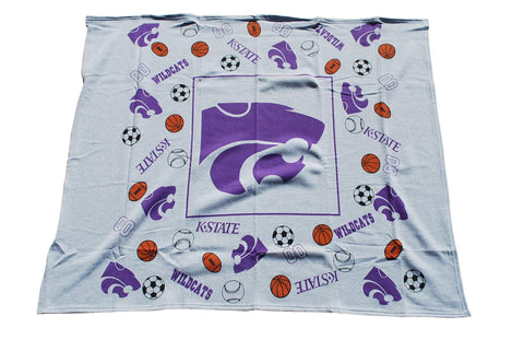 "Shop Kansas State Wildcats Decorative Linens Youth Gray Throw Blanket 45""x 45"" - Sporting Up"