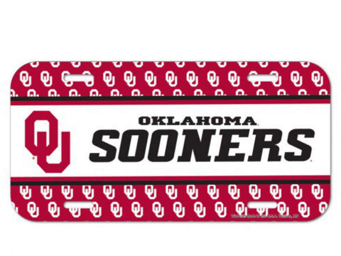 "Oklahoma Sooners WinCraft Red & White Plastic License Plate Cover (6"" x 12"")"