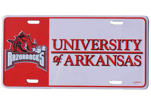 Shop Arkansas Razorbacks Game Day Outfitters White Red Metal License Plate - Sporting Up