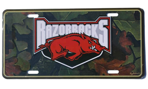 Shop Arkansas Razorbacks Game Day Outfitters Green Camo Metal License Plate - Sporting Up