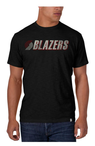 Shop Portland Trail Blazers 47 Brand Black Vintage Style Basic Scrum T-Shirt