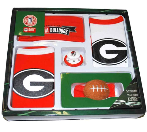Shop Georgia Bulldogs Haddad Accessories 5 Piece Infant Baby Gift Set (3-6 months) - Sporting Up