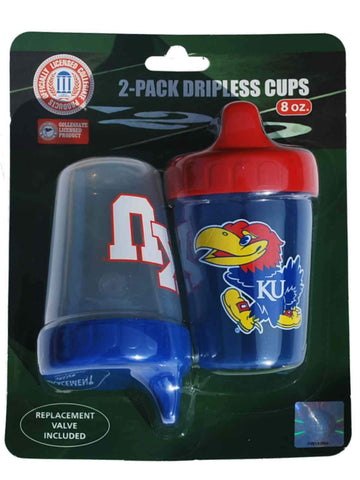 Shop Kansas Jayhawks Haddad Accessories Red Blue Dripless Sippy Cups 2-Pack 8 oz - Sporting Up