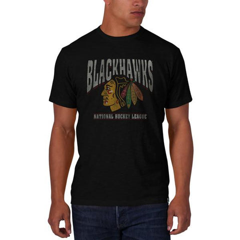 Shop Chicago Blackhawks 47 Brand Jet Black Big Logo Scrum Cotton T-Shirt