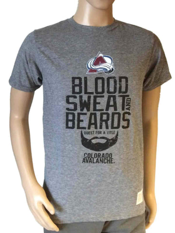Shop Colorado Avalanche Retro Brand Gray Blood Sweat and Beards T-Shirt