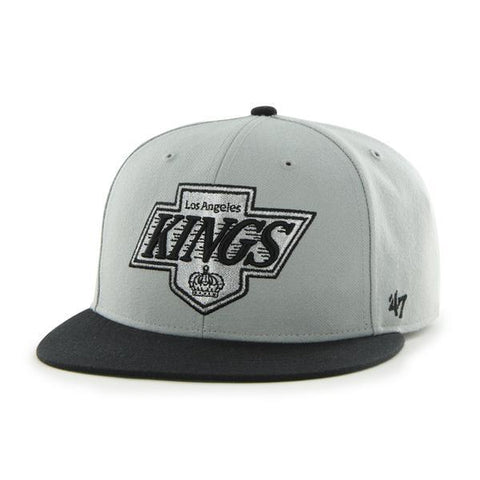Los Angeles Kings 47 Brand Gray Black Hole Shot 5 Time Champions Fitted Hat Cap