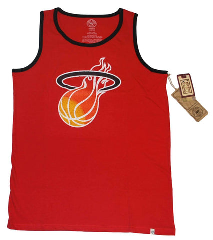 Shop Miami Heat 47 Brand Rebound Red Faded Sleeveless Tank Top T-Shirt