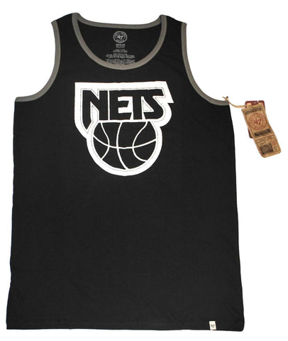 Shop Brooklyn Nets 47 Brand Jet Black White Faded Sleeveless Tank Top T-Shirt