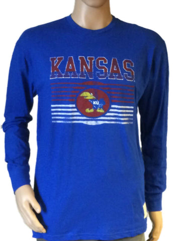Shop Kansas Jayhawks 1941 Retro Brand Blue Vintage Faded Logo Long Sleeve T-Shirt