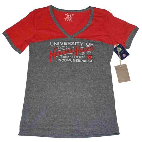 Shop Nebraska Cornhuskers Blue 84 Womens V-Neck Metallic Soft Cotton Gray T-Shirt - Sporting Up