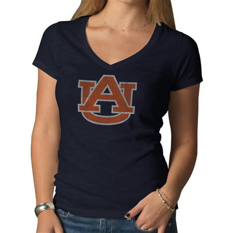 Shop Auburn Tigers 47 Brand NCAA Scrum Basic Navy Womens V-Neck T-Shirt - Sporting Up