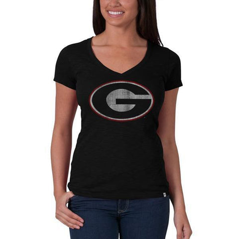 Shop Georgia Bulldogs 47 Brand NCAA Scrum Basic Jet Black Womens V-Neck T-Shirt