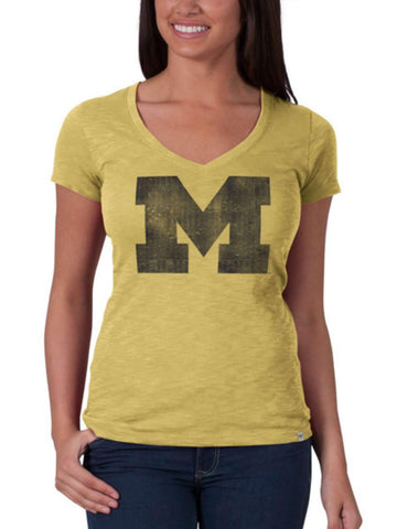 Shop Michigan Wolverines 47 Brand Womens Track Gold V-Neck Cotton Scrum T-Shirt