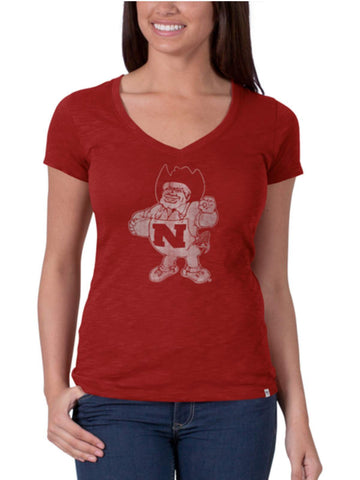 Shop Nebraska Cornhuskers 47 Brand Womens Rescue Red V-Neck Cotton Scrum T-Shirt