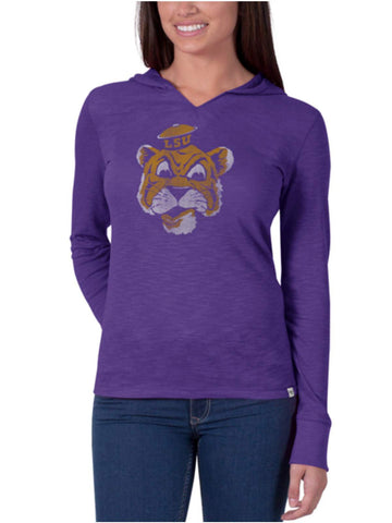 Shop LSU Tigers 47 Brand Women Bright Purple Hooded Scrum Long Sleeve Shirt - Sporting Up