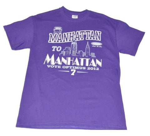 Shop Kansas State Wildcats Gildan Manhattan Skyline Vote Optimus 2012 Purple Shirt - Sporting Up