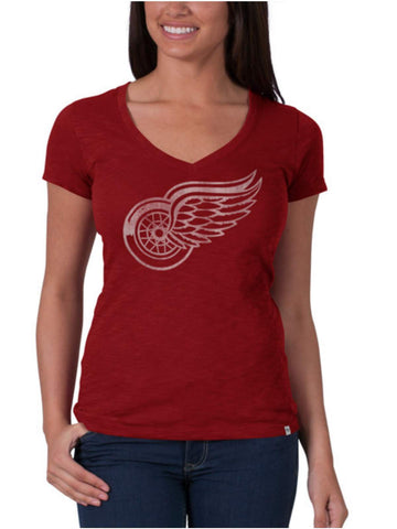 Shop Detroit Red Wings 47 Brand Women Rescue Red V-Neck Scrum T-Shirt - Sporting Up