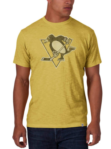 Shop Pittsburgh Penguins 47 Brand Track Gold Soft Cotton Scrum T-Shirt