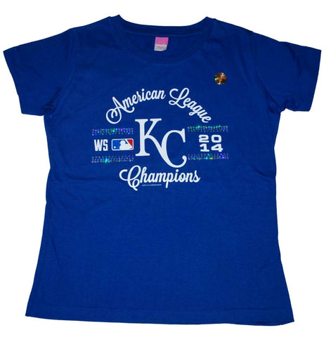 Shop Kansas City Royals LAT Women Blue Sequin 2014 ALCS Champions T-Shirt