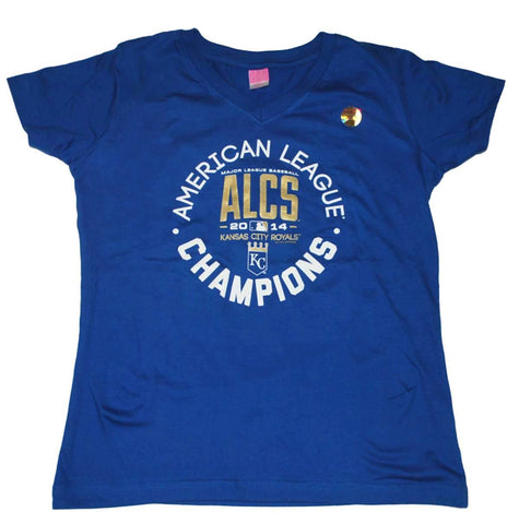 Shop Kansas City Royals LAT Women Blue 2014 ALCS Champs Circle V-Neck T-Shirt - Sporting Up