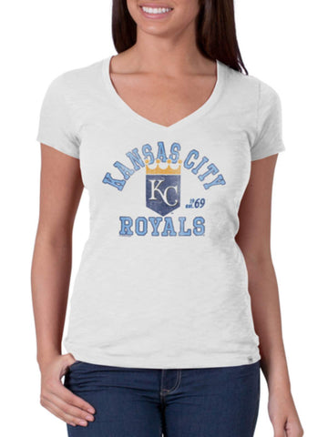 Shop Kansas City Royals 47 Brand Women White Wash V-Neck Scrum T-Shirt