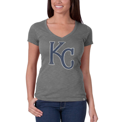 Shop Kansas City Royals 47 Brand Womens V-Neck Scrum Gray Navy KC T-Shirt - Sporting Up
