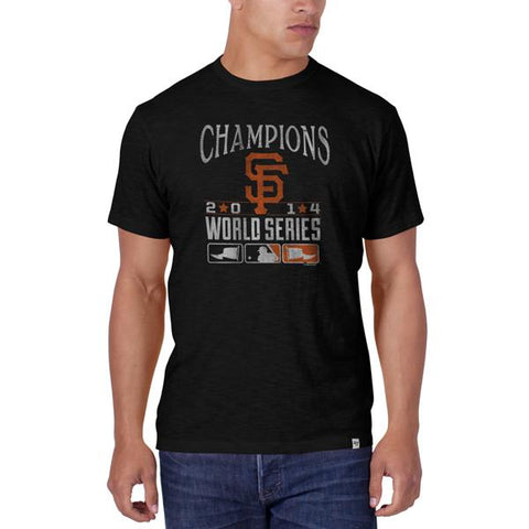 Shop San Francisco Giants 47 Brand 2014 World Series Champions Black Scrum T-Shirt - Sporting Up
