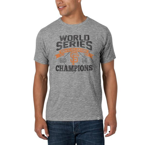 Shop San Francisco Giants 47 Brand 2014 World Series Champs Ash Gray Scrum T-Shirt