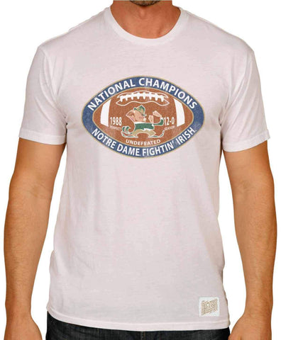 Shop Notre Dame Fighting Irish Retro Brand White 1988 National Champions T-Shirt