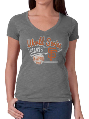 Shop San Francisco Giants 47 Brand Women Gray 2014 World Series Champs T-Shirt - Sporting Up