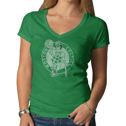 Shop Boston Celtics 47 Brand Women Kelly Green Soft Cotton V-Neck Scrum T-Shirt