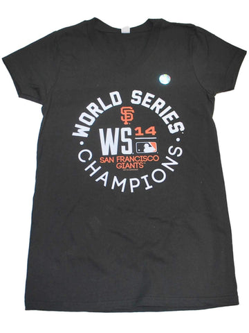 Shop San Francisco Giants SAAG Women Black World Series Champs V-Neck T-Shirt