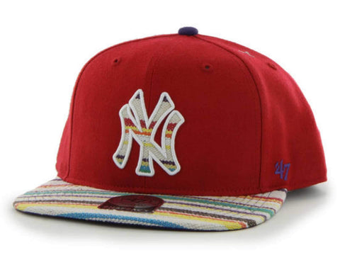 Shop New York Yankees 47 Brand Red Warchild Wool Adjustable Snapback Hat Cap - Sporting Up