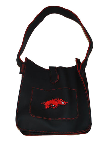 "Shop Arkansas Razorbacks Alan Stuart Black Leather Style Tote Purse 9"" x 8.75"""