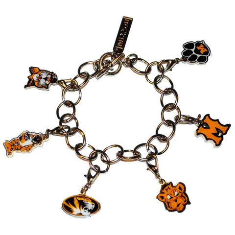 Shop Missouri Tigers Pro Graphs Women Silver Evolution 7 Charm Bracelet