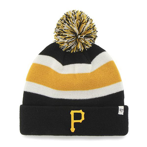 Pittsburgh Pirates 47 Brand Black Breakaway Knit Cuffed Beanie Poofball Hat Cap - Sporting Up