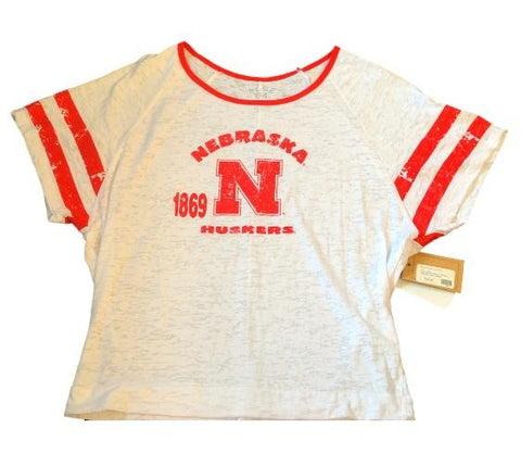 Shop Nebraska Cornhuskers Blue 84 Womens Contrast 1869 White T-Shirt - Sporting Up