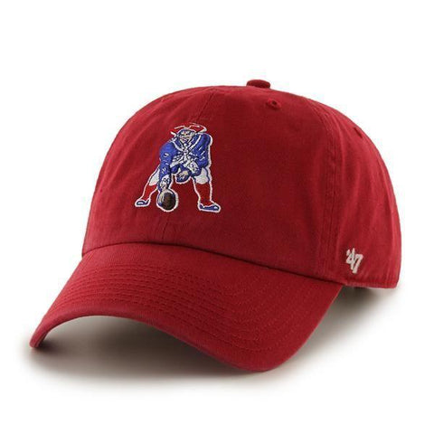 56e72e8f6f8 New England Patriots 47 Brand Red Vintage Clean Up Adjustable Slouch Hat Cap