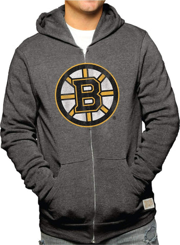 Shop Boston Bruins Retro Brand Gray Triblend Fleece Zip Up Hoodie Jacket