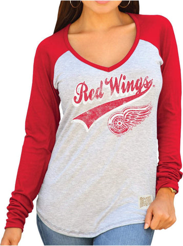 Detroit Red Wings Retro Brand Women Two Tone V-Neck Long Sleeve T-Shirt